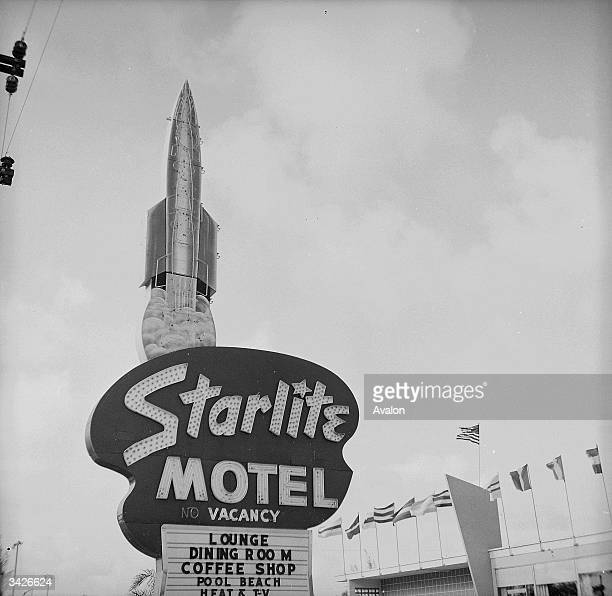 A sign for the Starlite Motel which is situated on Cocoa Beach located on the Atlantic side of Florida