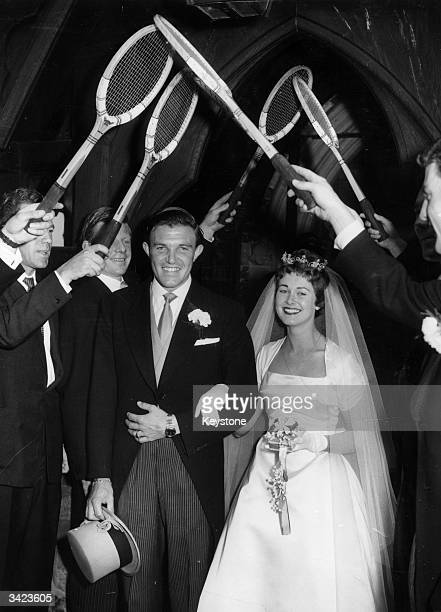 Roger Becker was married at St John's Church Shirley Croydon to Shirley Malkin The Bride and groom leave the church under a guard of honour of tennis...