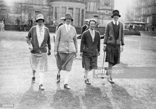 Four competitors in a Ladies' Scottish Foursomes tournament on the course at St Andrews Left to right Mrs Durward Mrs Wallace Miss Hair and Mrs...