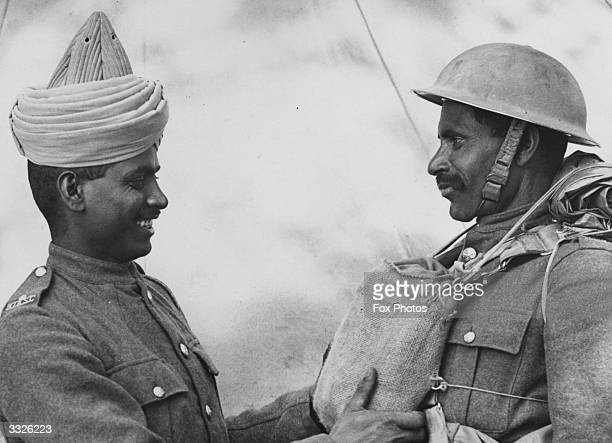 Two members of the BEF Indian Troops who have just arrived in England from Dunkirk