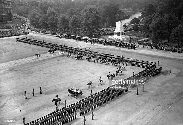 Princess Elizabeth arrives at the Horse Guards' Parade in London for the traditional Trooping of the Colour taking the place of her sick father