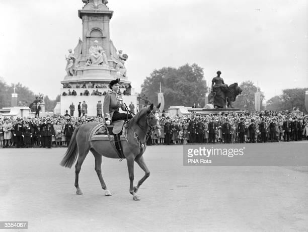Princess Elizabeth returning to Buckingham Palace after taking part a Trooping of the Colour ceremony in honour of the King's official birthday at...