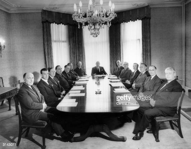 The Board of Directors of Fisons Ltd, manufacturers of fertilizers, attend a meeting in the company's boardroom.