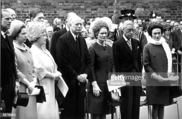 Members of the House of Windsor at an unveiling ceremony for a memorial plaque of Queen Mary the Duke of Edinburgh Queen Elizabeth II Queen Elizabeth...