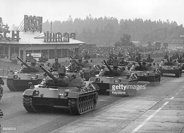 Leopard tanks of the German Army during the 20th anniversary of the NATO alliance parade