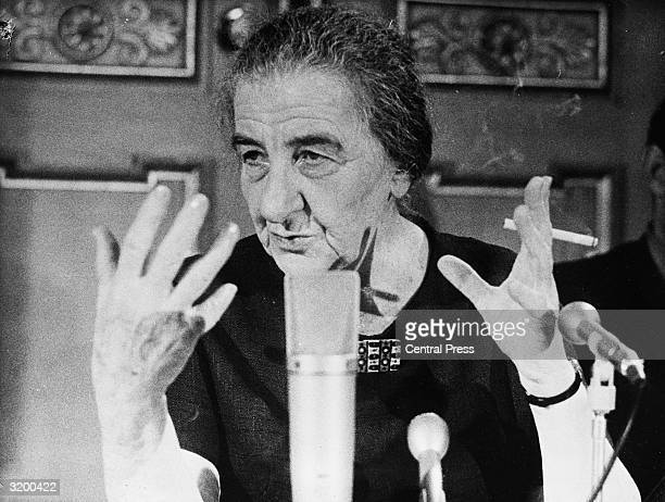 Israeli labour politician and Prime Minister Golda Meir at a press conference in Stockholm during her official visit to Sweden