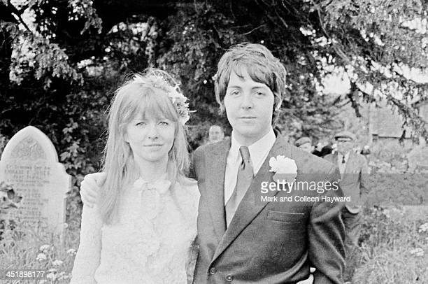 Best man Paul McCartney and his girlfriend Jane Asher pose together outside the church in Caerog North Wales during the wedding of his brother Mike...
