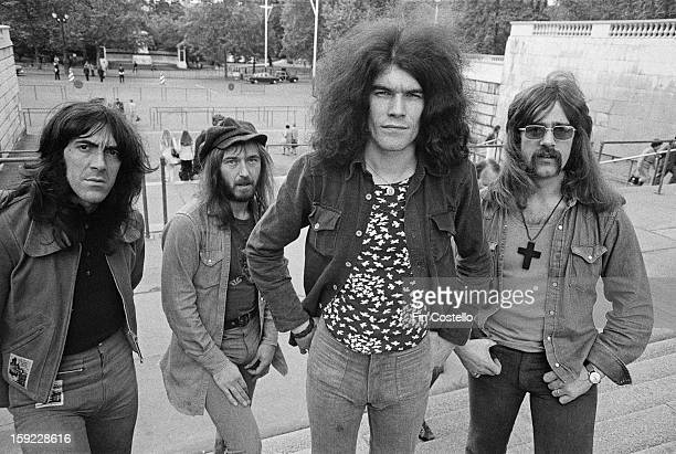 Scottish rock band Nazareth posed by The Mall in London on 7th June 1972 Left to right guitarist Manny Charlton bassist Pete Agnew vocalist Dan...