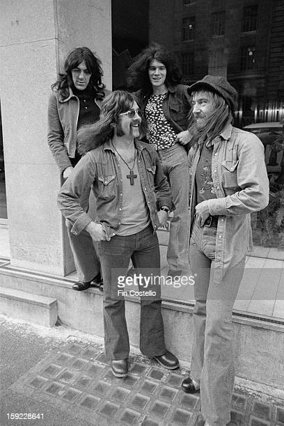 Scottish rock band Nazareth posed in London on 7th June 1972 Left to right guitarist Manny Charlton drummer Darrell Sweet vocalist Dan McCafferty and...