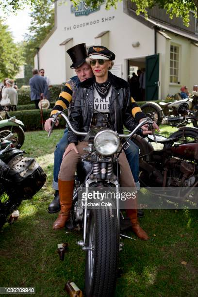 Lady Gent on vintage motorcycle during the 20th anniversary of the Goodwood Revival at Goodwood on September 7th 2018 in Chichester England 'n