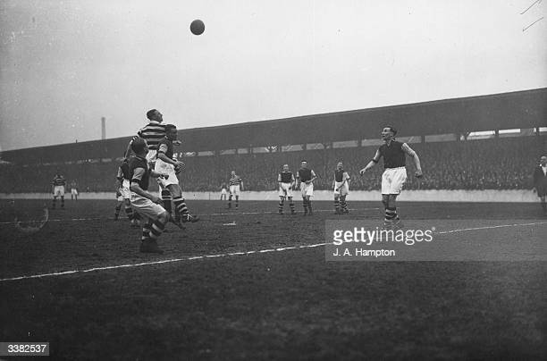Manchester's Mutch and West Ham's Ruffnell compete for the ball in the air as West Ham United play Manchester United in 2nd Divison promotion battle...