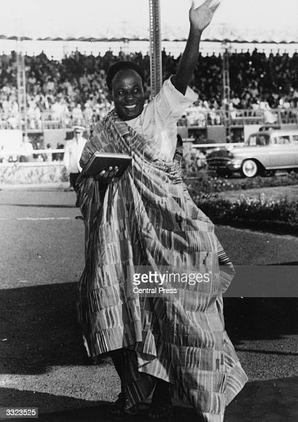 Ghanian Prime Minister Kwame Nkrumah arrives at the Assembly House in Accra for the opening of the new Parliament and the declaration of Ghana's...