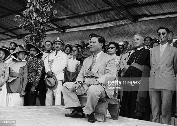 South Vietnamese President Ngo Dinh Diem 1901 1963 at a fair near Saigon shortly after an attempt on his life was foiled