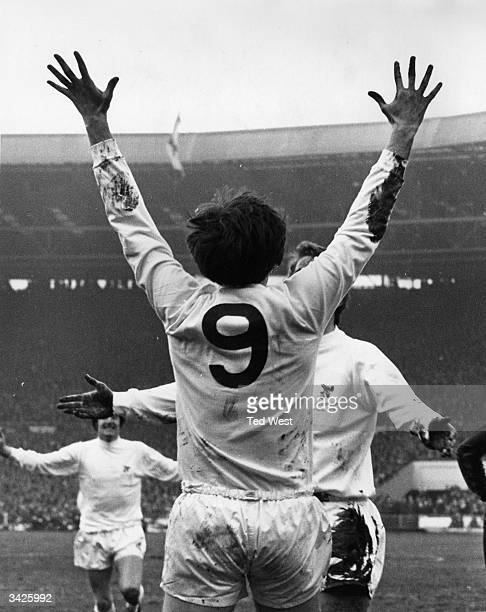 West Bromwich Albion centre forward, Jeff Astle , celebrating with his team mates after scoring in the League Cup final against Manchester City at...