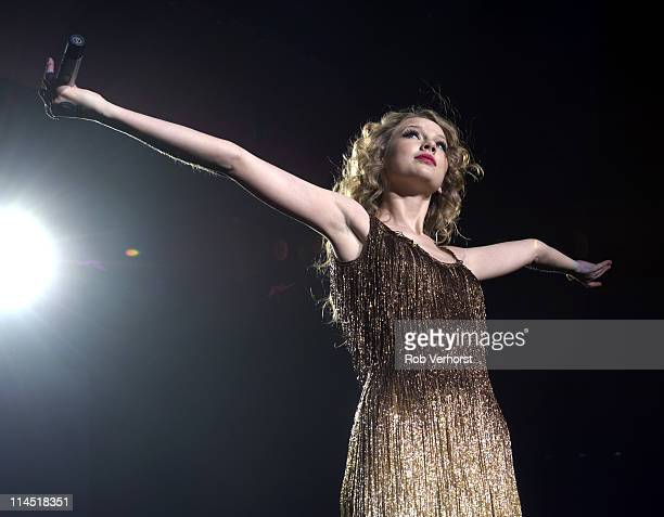 American country singer Taylor Swift performs live on stage at Ahoy in Rotterdam Netherlands during her Speak Now World Tour on 7th March 2011