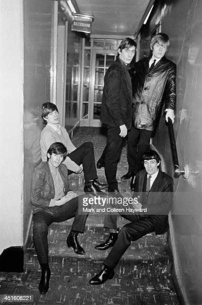 English rock and roll group The Rolling Stones posed in a corridor at the Midland Hotel in Manchester England on 7th March 1965 Clockwise from top...