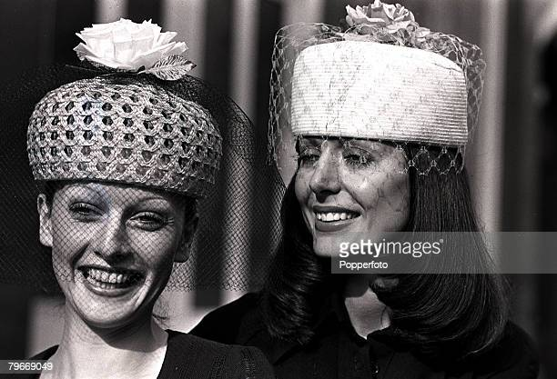 7th March Hat styles for spring and summer shown in London On left a crisp white straw laise pillbox with a pink rose and veil on the right a bright...