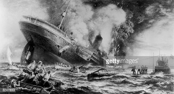 The sinking of the Cunard ocean liner 'Lusitania' by a German submarine off the Old Head of Kinsale Ireland 128 US citizens lost their lives and the...