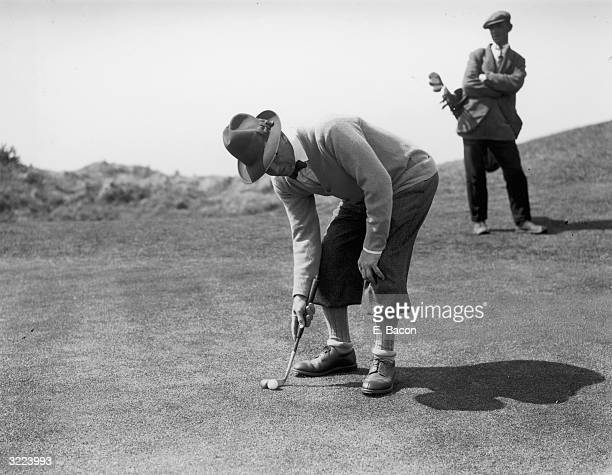 Joshua Crane using an 18 inch handle putter during the 1st qualifying round of the Open Golf Championship at St George's Golf Course Sandwich Kent