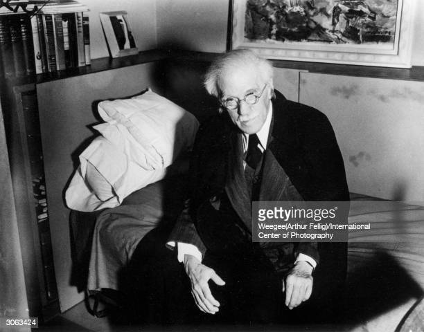 American photographer and curator Alfred Stieglitz in the office of the American Place Gallery He married the artist Georgia O'Keeffe in 1924 Photo...
