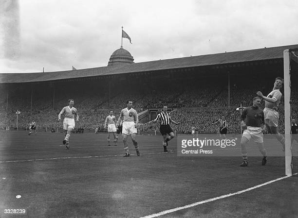 The fastest goal to date in an FA cup final scored after 45 seconds by Jackie Milburn at Wembley stadium following a corner from Len White German...