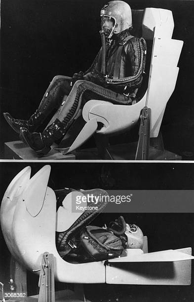 W B Harwell manager of the production flight for Convair Division of General Dynamics Corporation sits in the normal flight attitude in a mock up of...