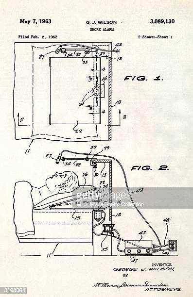 George J Wilson's patent for a snore alarm It works by monitoring noise levels with a microphone and adjusting the angle of the sleeper's head when...
