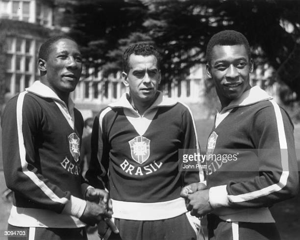 Three footballers of Brazil's national team - - Djalma Santos, Zito and Pele - at their hotel at Selsdon Park. The players have recovered from...