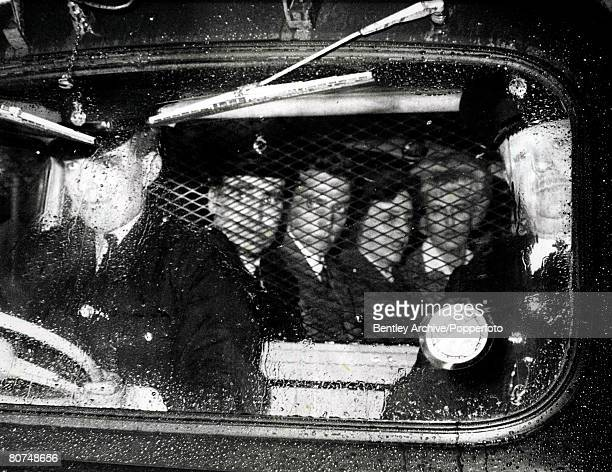 7th May 1966 A Police van leaves Chester Crown Court carrying the Moors Murder Suspects Ian Brady and Myra Hindley after the jury had retired to...