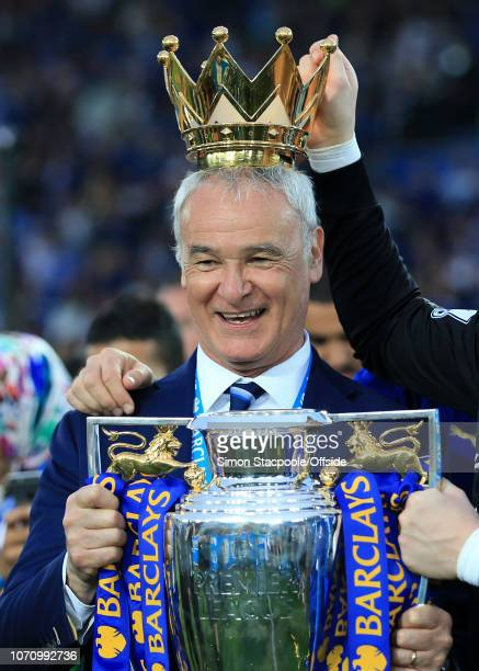 7th May 2016 Barclays Premier League Leicester City v Everton Leicester manager Claudio Ranieri with the trophy crown on his head