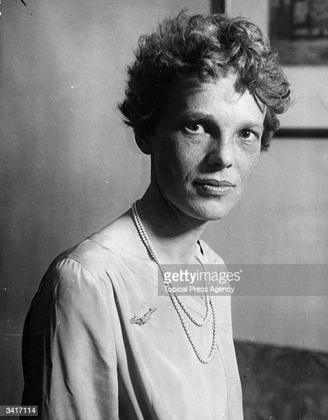Aviatrix Amelia Earhart noted for her flights across the Atlantic and Pacific oceans She disappeared without trace during her attempt to fly around...