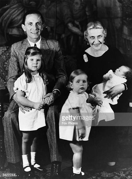 German Nazi politician and minister of propaganda Paul Joseph Goebbels with his wife and children