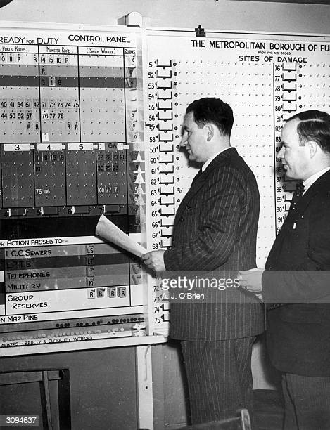 Councillor J A de Palma Chief AirRaid Warden for the London Borough of Fulham in the control room He is also mayor for Fulham