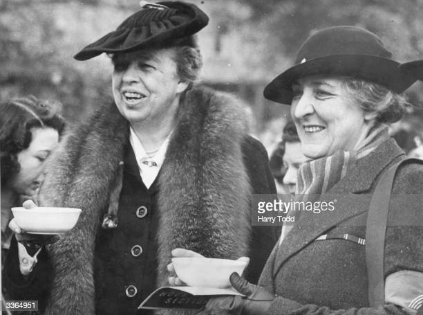 Eleanor Roosevelt American humanitarian and wife of President Franklin Delano Roosevelt enjoying refreshments during a tour of Britain