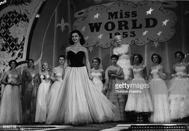 Beauty queens from fifty countries compete for the title of 'Miss World' sponsored by Mecca Dancing Ltd Centre stage is Denise Perrier Miss France...