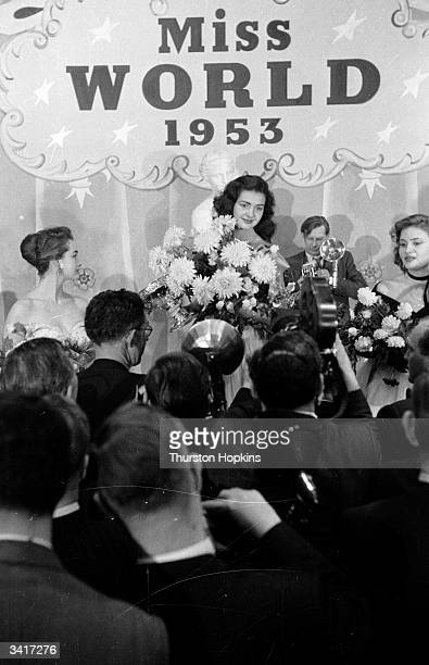 Miss France Denise Perrier celebrates winning the 'Miss World' beauty competition sponsored by Mecca Dancing Original Publication Picture Post 6785...