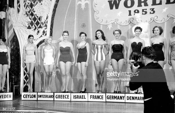 Some of the fifty beauty queens competing for the title of 'Miss World' sponsored by Mecca Dancing Ltd Original Publication Picture Post 6785 The...