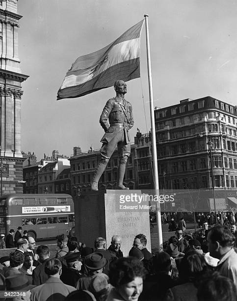 A statue sculpted by Jacob Epstein of Field Marshal The Rt Hon Jan Christiaan Smuts in Parliament Square
