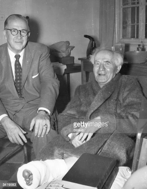 Ezra Taft Benson American Agricultural Secretary visits Israeli prime minister David BenGurion in hospital at Jerusalem BenGurion is recuperating...