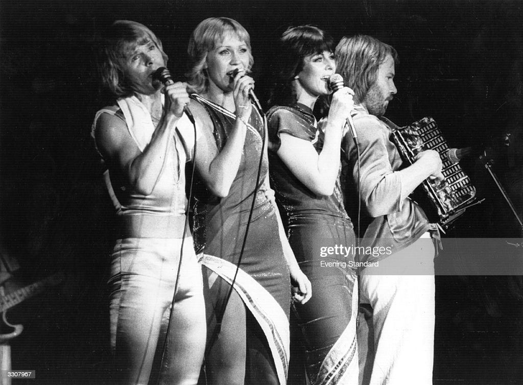 Swedish pop group Abba (left to right) Bjorn Ulvaeus, Agnetha Faltskog, Anni-Frid Lyngstad and Benny Andersson, in concert.