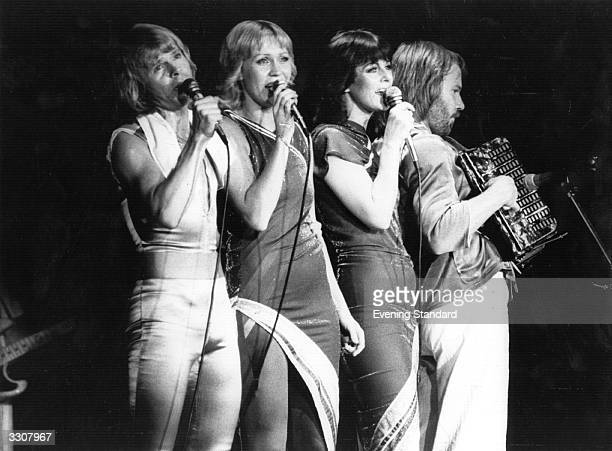 Swedish pop group Abba Bjorn Ulvaeus Agnetha Faltskog AnniFrid Lyngstad and Benny Andersson in concert