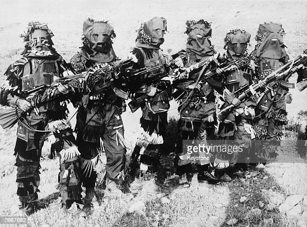 A group of guerrilla snipers of the Action Organisation Palestinian commandos trained to watch the movements of Israeli forces in the Jordan river...