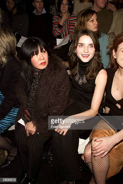 7th on Sixth / MercedesBenz Fall 2001 Fashion Week Designer Anna Sui and Michelle Hicks attend the Marc Jacobs Fall 2001 fashion show at the Armory...