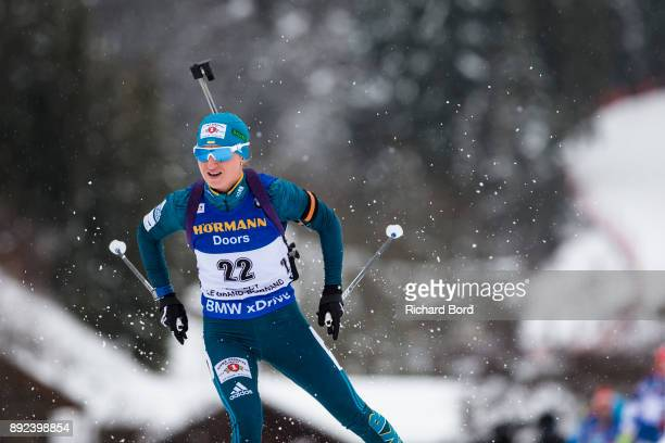7th place Valj Semerenko of Ukraine performs during the IBU Biathlon World Cup Women's Sprint on December 14 2017 in Le Grand Bornand France