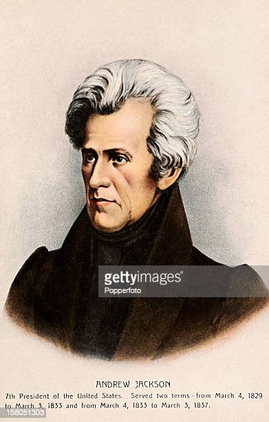 7th President of the United States Andrew Jackson featured on a vintage colour postcard published circa 1900 Jackson served as president of the...