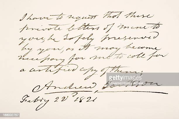 7Th President Of The United States Of America Hand Writing Sample
