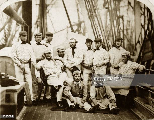 England's 12 Champion Cricketers on board a ship at Liverpool bound for America Back row Carpenter Caflyn Lockyer Wisden Stephenson G Parr Grundy...