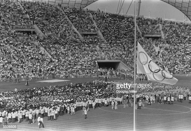 Crowds attending the memorial service at the Olympic Stadium at Munich for the Israeli athletes killed by Arab terrorists