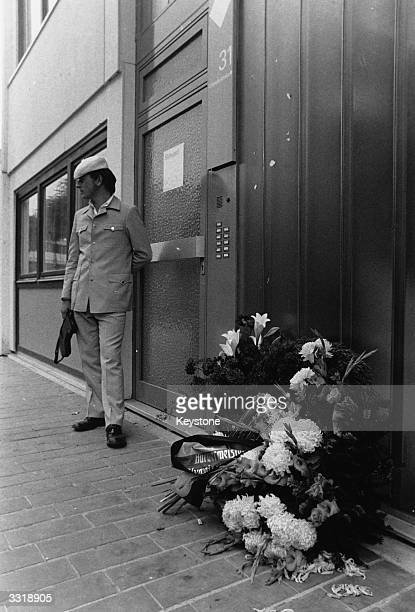 Wreaths of flowers outside the Israeli quarters in the Olympic Village in Munich following the deaths of the Israeli athletes held hostage by Arab...