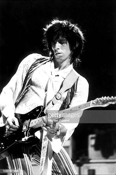 Guitarist Keith Richards of the Rolling Stones performing on stage at Wembley Empire Pool in London England in September 1973